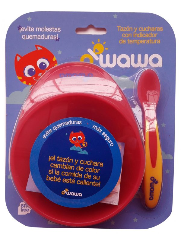 Owawa - Set bowl Sensor de calor Rojo   Tienda para bebés - Mamita y Yo