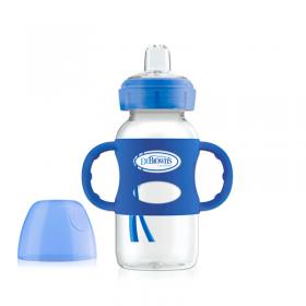Dr. Browns - Biberón Azul de Transición con asas - boca ancha Polipropileno 9onz | Tienda para bebés - Mamita y Yo